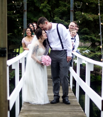 Melanie Wedding - Bridal Party on Bridge - Copy